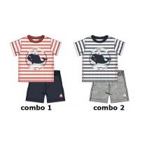 137448 Youth Tonic baby boys set: shirt+short combo 2 blue nights (4 pcs)
