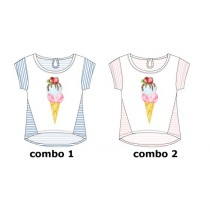 Psychotropical small girls shirt  combo 2 orchid pink (6 pcs)