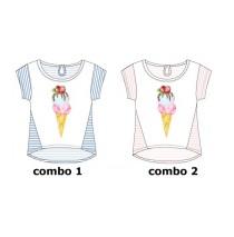 Psychotropical small girls shirt  combo 2 orchid pink (6 pcs)