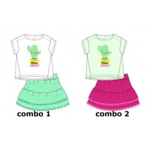 Psychotropicalsmall girls set: shirt+skirt combo 2 hint of mint (6 pcs)