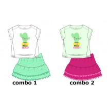 Psychotropicalsmall girls set: shirt+skirt combo 2 hint of mint (6 pcs)