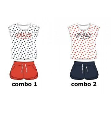 Theme small girls set: shirt+short combo 2 hibiscus (6 pcs)