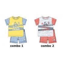 137850 Psychotropical baby boys set: shirt+short combo 2 light grey melange  (4 pcs)