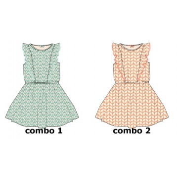 Kinship dress small girls dress combo 2 living coral (6 pcs)