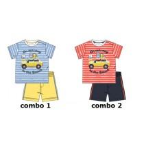 137928 Psychotropical baby boys set: shirt+short combo 2 spiced coral (4 pcs)