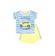 137928 Psychotropical baby boys set: shirt+short combo 1 silver lake blue (4 pcs)