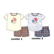 137942 Kinship baby girls set: combo 2 shirt+short light grey melange (4 pcs)