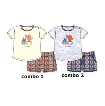 137942 Kinship baby girls set: shirt+short light grey melange (4 pcs)