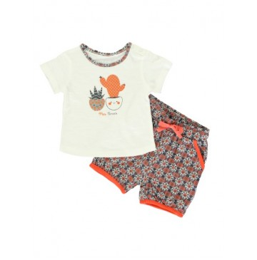 137942 Kinship baby girls set: shirt+short marshmallow (4 pcs)