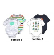 137985 Psychotropical baby boys romper (2pack) combo 2 optical white (6 pcs)