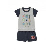 137988 Psychotropical baby boys set light grey melange+blue tint (4 pcs)