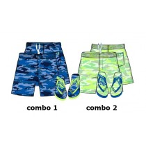 Psychotropical Teen boys swimwear + flipflops combo 2 sharp green (6 pcs)