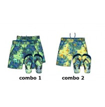 Psychotropical teen boys swimwear + flipflops combo 2 yellow (6 pcs)