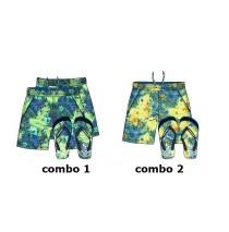 Psychotropical teen boys swimwear + flipflops combo 2 yellow (6 pcs)