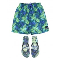 138078 Psychotropical teen boys swimwear + flipflops green+yellow (12 pcs)