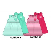 Basic baby girls dress Two Pack combo 2 azalea (4 pcs)