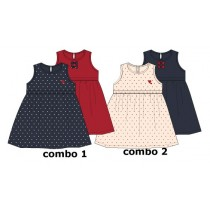 Basic baby girls dress Two Pack combo 2 pearl (4 pcs)