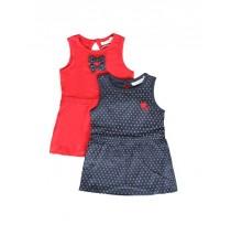 138087 Basic baby girls dress Two Pack combo 1 blue nights (4 pcs)