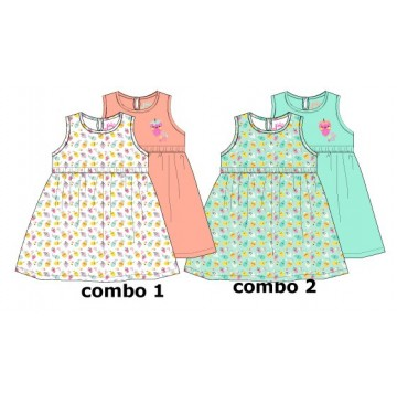 138088 Basic baby girls dress Two Pack combo 2 blue tint (4 pcs)