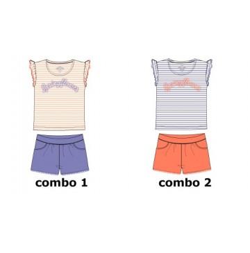 Psychotropical small girls set: shirt+short combo 1 wedgewood (6 pcs)