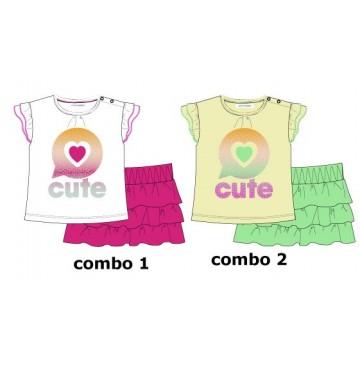 Youth Tonic baby girls set: shirt+skirt combo 2 tender yellow (4 pcs)