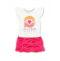 138356 Youth Tonic baby girls set: shirt+skirt combo 1 optical white (4 pcs)
