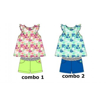 138361 Psychotropical baby girls set: singlet+short combo 2 turkish sea (4 pcs)