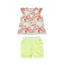 138361 Psychotropical baby girls set: singlet+short combo 1 sharp green (4 pcs)