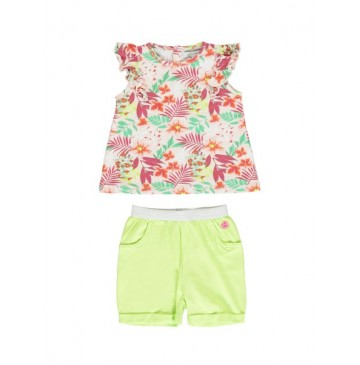 138361 Psychotropical baby girls set: singlet+short combo 1 sharp green (4 pcs)