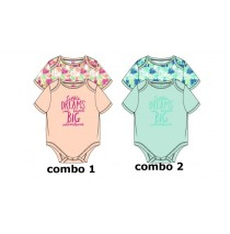 138364 Psychotropical baby girls romper (2-pack) combo 2 blue tint (4 pcs)