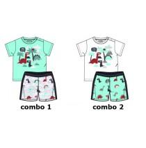 138502 Psychotropical baby girls set: shirt+short combo 2 optical white (4 pcs)