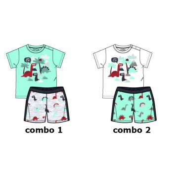 138502 Psychotropical baby girls set: shirt+short combo 2 optical white (4 pcs)