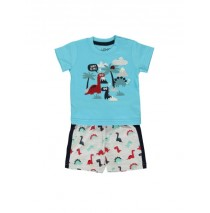 138502 Psychotropical baby girls set: shirt+short combo 1 tropic blue (4 pcs)