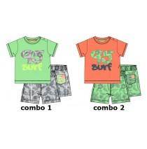 Psychotropical baby boys set: shirt+short combo 2 living coral (4 pcs)