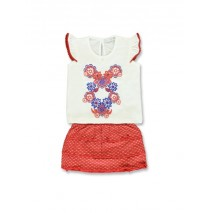 Kinship baby girls set: singlet+skirt combo 1 marshmallow(4 pcs)