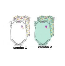 138594 Psychotropical baby girls romper (2-pack) combo 2 blue tint (4 pcs)