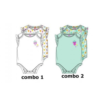138594 Psychotropical baby girls romper (2-pack) combo 2 blue tint (4 pcs)
