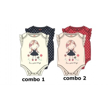 138596 Youth Tonic baby girls romper (2-pack) combo 2 pearl (4 pcs)
