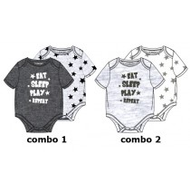 138611 Psychotropical baby boys romper (2pack) combo 1 light grey melange (6 pcs)