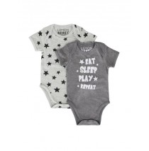 138611 Psychotropical baby boys romper (2pack) combo 1 dark grey melange (6 pcs)