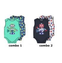 138613 Psychotropical baby boys romper (2pack) combo 1 blue nights (6 pcs)