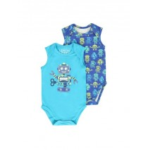Psychotropical baby boys romper (2pack) combo 1 scuba blue (6 pcs)