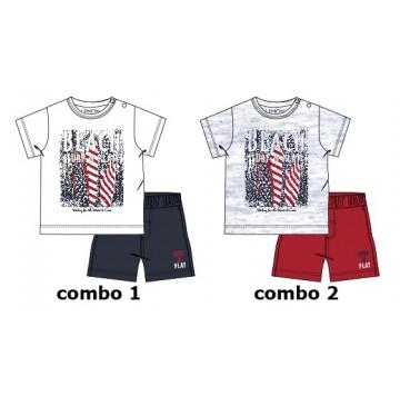 Psychotropical baby boys set: shirt+short combo 2 light grey melange (4 pcs)