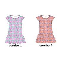 Psychotropical small girls dress combo 2 living coral (6 pcs)
