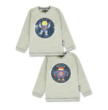 140146 Dark wonder t-shirt grey melange + galaxy blue (12 pcs)