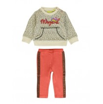 140166 Humanature baby girls set:sweater+pant beige melange + rosette (8 pcs)