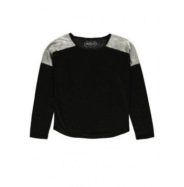 140650 Dark wonder ladies t-shirt black + marshmallow (24 pcs)
