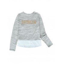 140779 The Thinker teen girls sweatshirt grey melange + pearl melange (12 pcs)