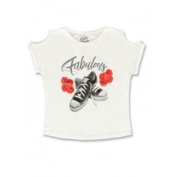141755 Creative manifesto girls shirt optical white+light grey melange (12 pcs)