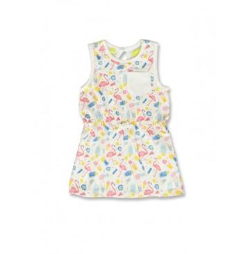 141878 Creative manifesto baby girls dress optical white+light grey (8 pcs)